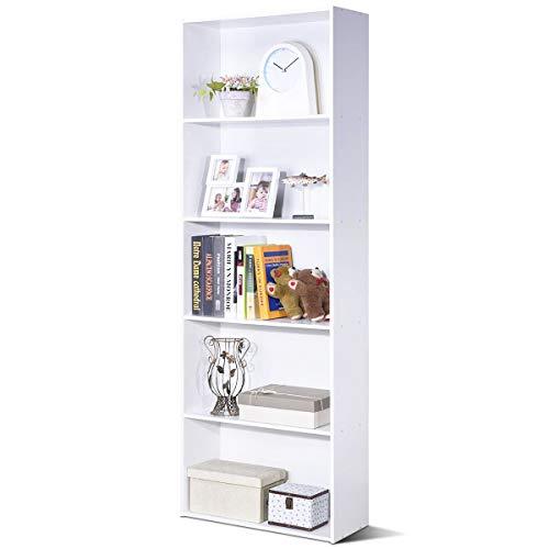 COSTWAY 170cm Bücherschrank mit 5 Ebenen, Bücherregal Holz, Aktenregal mit offenem Stauraum, Aufbewahrungsregal, Büroregal für Bücher, CDs, Pflanzen und Fotos (Weiß)