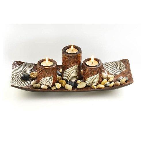 Dekoschale with three candlestick a.Wood by Locker