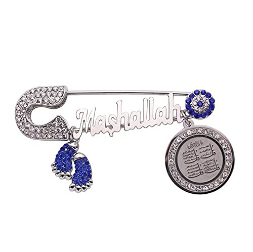 XiaoG Islam Muslim Allah Quran Pendant Metal Brooch Baby Pin Classic Religious Style Jewelry (Color : Silver)