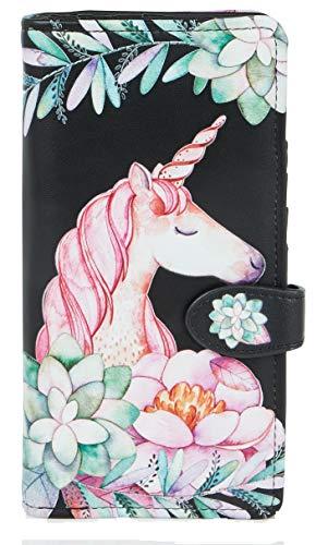 Shagwear portafoglio per giovani donne, Large Purse : Diversi colori e design: (unicorni/Unicorn Blk)