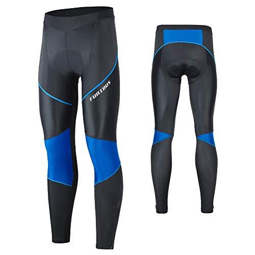 MEETWEE Pantalones de ciclismo para hombre, pantalones largos, pantalones de bicicleta, mallas transpirables, esponja 3D, acolchadas, para ciclismo, color azul, XL