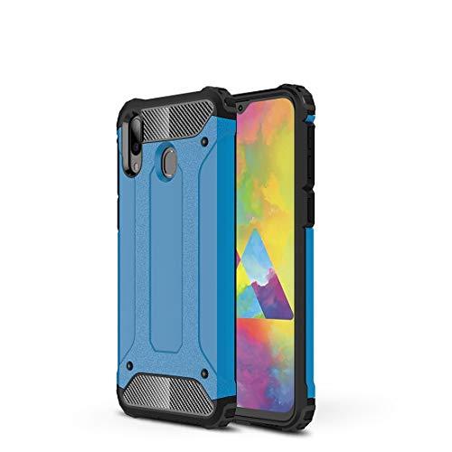 Carcasa de acero para Samsung Galaxy M20, resistente y duradera, protección de grado militar, goma interior de TPU + PC avanzada (color: azul cielo)