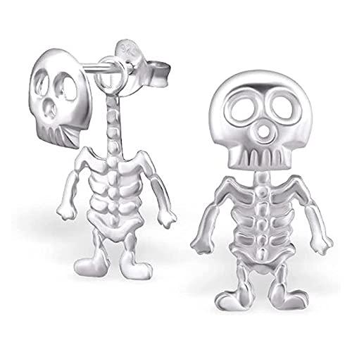 CICI Pendientes de Calavera Estilo Punk, Pendientes Colgantes de Huesos de Esqueleto de Halloween, Pendientes de Esqueleto de botón (1 Pair)
