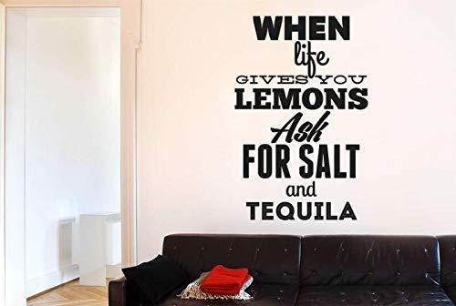 Wanneer het leven geeft u citroenen vragen zout tequila Vinyl wanddecoratie stencils muurschilderingen