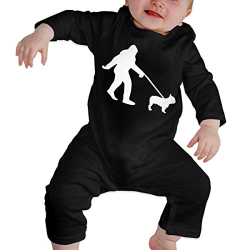 YELTY6F Bigfoot Walking French Bulldog-1 Printed Baby One-Piece Suit Long Sleeve Romper Black
