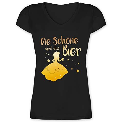Typisch Frauen - Die Schöne und das Bier - M - Schwarz - t Shirt Aufdruck Damen - XO1525 - Damen T-Shirt mit V-Ausschnitt