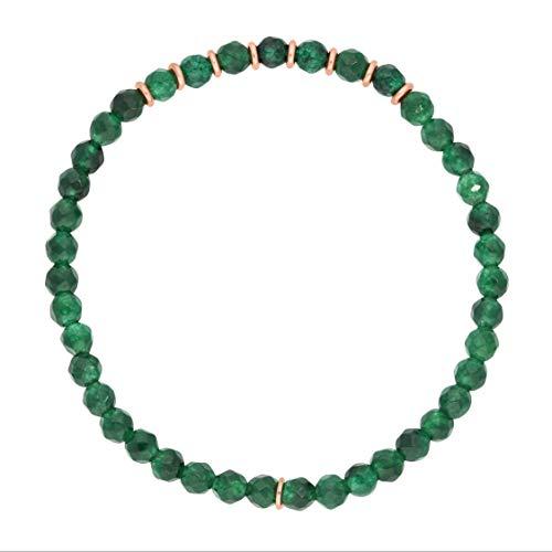 Naturstein Perlenarmband grüne Jade | feines Armband für Damen | Sterling silber 925 rose vergoldet | Energiearmband elastisch onesize Edelstein Armreifen Boho Power Kraft Glücksarmband facettiert