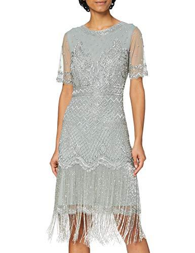 Frock and Frill Damen Embellished Shift Flapper Dress with Tassles Cocktailkleid, grau, 40