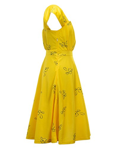 IDEALSANXUN Womens Bright Yellow Cap Sleeve Lovely Cocktail Floral Party Dress (Small, Yellow)