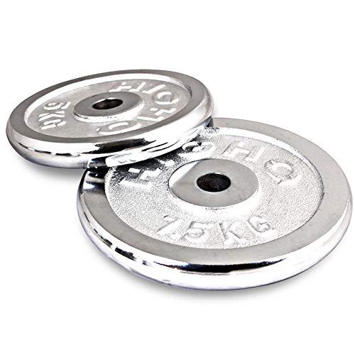 2PCS Gusseisen Langhantel Gewicht Platten Fitness Gewichtheben Krafttraining für 1 Zoll Hantel Lenker 2,5-20 kg (Auswahl der Größen),5kg