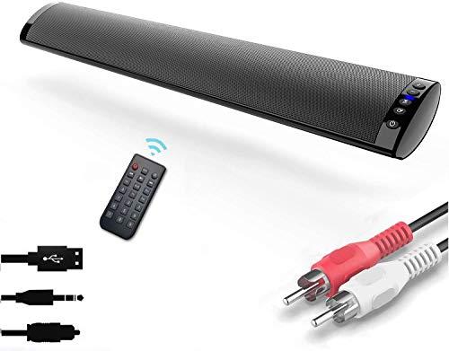 Barras de Sonido para TV, Nueva Bluetooth 5.0, Profesional Sonido Envolvente Altavoz para TV/Home Cinema, Apoyo RCA/AUX/óptico/USB/TF Tarjeta, Compatible para TV, Moviles, Tableta,Montable en la Pared