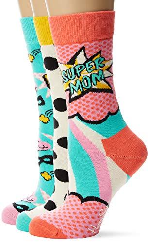 Happy Socks Mother's Day Gift Box Calcetines, Multicolor (Multicolour 430), 4/7 (Talla del Fabricante: 36-40) (Pack de 3) para Mujer