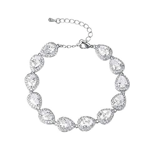 siqiwl Pulsera de tenis nupcial, joyería de boda, color brillante, chapado en platino