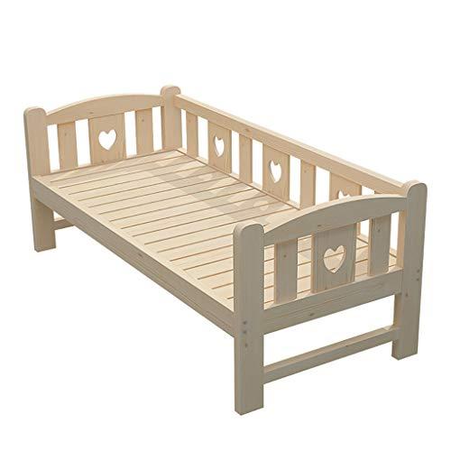 liu Kleinkinderbett, klassisches Design Holzbettrahmen mit seitlichen Sicherheitsleitplanken und Holzlattenstütze für Kinder, Jungen und Mädchen, Kinder, die Schlafzimmermöbel schlafen