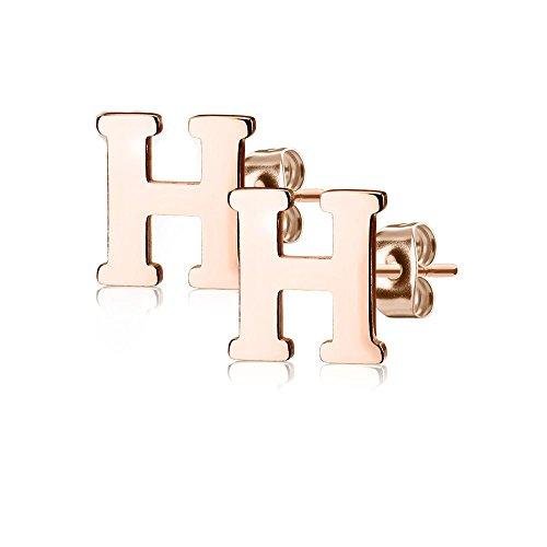 Bungsa® BUCHSTABE H Ohrstecker Rosegold - BUCHSTABEN H Ohrring in Rosegold aus Edelstahl für Damen, Kinder & Herren