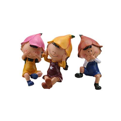 Artibetter 3 Piezas Mini Figuras de Dibujos Animados Tres Miniaturas de Figuras sin Pastel Toppers Micro Paisaje Bonsai Decoración Escritorio Ornamento Oficina Hogar Jardines DIY Maceta