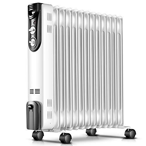 Mfun-Fan Radiateur à Huile mécanique Blanc, Thermostat électrique Portable Chauffant, économie d'énergie 2000W (11 plaques chauffantes)