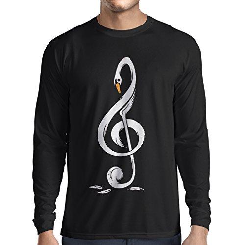 N4369L T-Shirt mit Langen Ärmeln G Schlüssel-Symbol (Large Schwarz Mehrfarben)