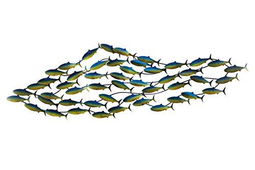 KunstLoft Stravagante Scultura da Parete in Metallo Mondo Sottomarino' 152x49x6,5cm | Decorazione Parete XXL Design Fatta a Mano | Pesci Animali Acqua | Quadro di Metallo Lussuoso plastico murale