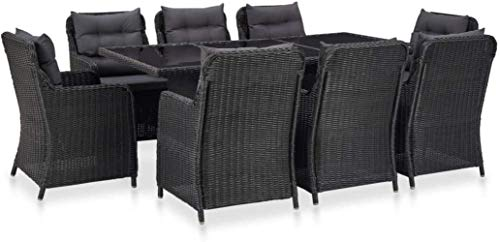 Woodtree Garden Dining Set 9 Pieces Synthetic Rattan and Metal Gray, Table Rectangular Glass and 8 pz Garden chairs, dining table and chairs, garden furniture, table and chairs Garden
