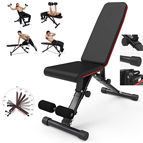 YHSPORT Panca Fitness Regolabile Sit-up Pesi con Manubri Bed Sgabello Sedia Fitness Bench Press Professional Sports Fitness Equipment Multifunzionale Pieghevole Rotolo Web Consiglio