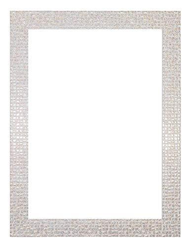 Cadre photo plat blanc nacré brillant/effet miroir/mosaïque | cadre photo | cadre photo | cadre photo | cadre photo avec un dos en MDF – 35,6 x 27,9 cm