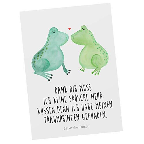 Mr. & Mrs. Panda Karte, Grußkarte, Postkarte Frosch Liebe mit Spruch - Farbe Weiß