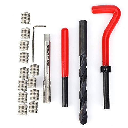 Esenlong 17 Stück Gewindereparatursatz M10x1. 25 Gewindebohrer aus Edelstahl für Innengewinde Silber + Rot