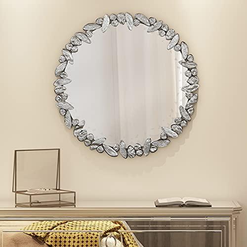"KOHROS Large Antique Wall Mirror Ornate Glass Framed Venetian Decor Mirror Bedroom,Bathroom, Living Room (31.5"" Round)"