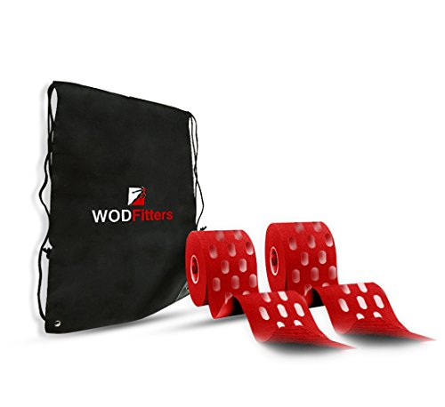 WODFitters Extra Breathable Porous Kinesiology Tape - 2 Pack with Carrying Bag   Durable, Adhesive & Elastic Cotton Kinesiology Athletic Tape (2 Pack, Red with Holes)