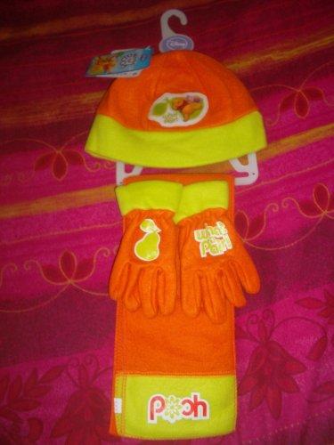 Disney -Ensemble 3 Pièces de vêtements d'hiver Winnie The Pooh/Winnie L'ourson, bonnet, gants et écharppe Abricot & Anis pour enfants Taille 50, 100% Polyester