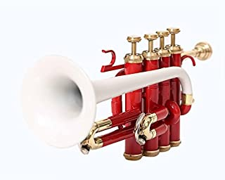 SONOROUS AWESOME Bb Pitch Piccolo Trumpet with Hard Case and Mouthpiece, Red + White Multi Colour Pattern by NASIR ALI