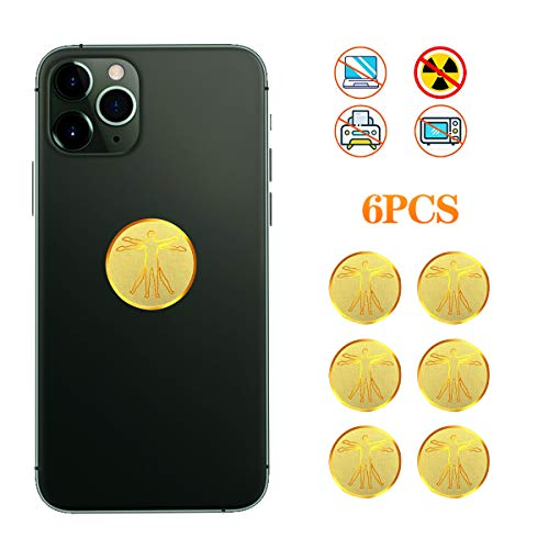 GWINDY EMF Protection Cell Phone Sticker, Anti-Radiation Shield EMR Blocker for Phone, iPad, Laptop and Other Commonly Used Electronic Devices, Healthier Environment (Golden, 6pcs)
