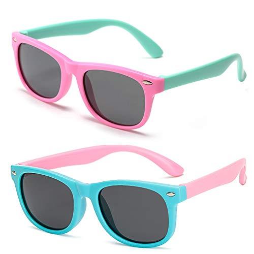FANDE Ochiali da Sole, 2 Pezzi Occhiali Sole Bambino, Sunglasses per Bambini In Gomma UV400, Lente Polarizzata Resistente Agli Urti, Sicuri, Leggeri e Confortevoli (3-12 anni)