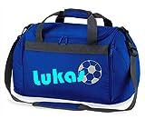 Sporttasche mit Namen | inkl. NAMENSDRUCK | Motiv Fußball | Personalisieren & Bedrucken | Reisetasche Jungen Ball Sport-Verein | blau schwarz (Royalblau)