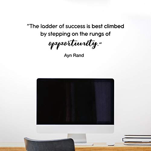 "Vinyl Wall Art Decal - The Ladder of Success is Best Climbed - 10.5"" x 30"" - Ayn Rand Quote Motivational Home Bedroom Apartment Work Workplace Quote - Positive Indoor Outdoor Living Room Office Decor"