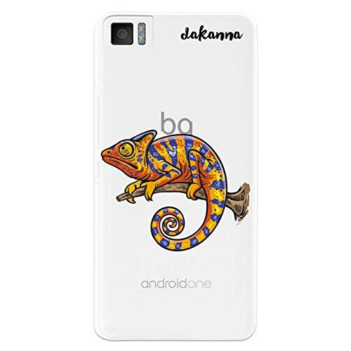 dakanna Kompatibel mit [Bq Aquaris M4.5 - A4.5] Flexible Silikon-Handy-Hülle [Transparenter Hintergr&] Chamäleon auf dem Zweig Design, TPU Hülle Cover Schutzhülle für Dein Smartphone