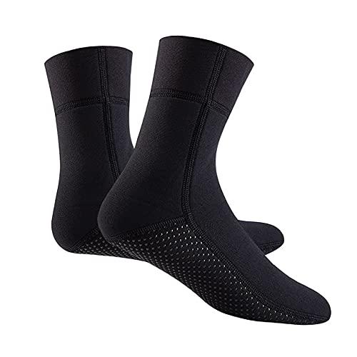 QAOSHOP Neoprene 3mm Diving Socks, Water Fin Socks Thermal Wetsuits Sock Anti Slip Flexible for Beach Swimming Boarding and Water Sports,Black,L