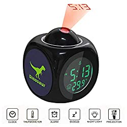 Projection Alarm Clock LCD Digital LED Display Talking with Voice Thermometer Function Desktop Green Dinosaur Kids