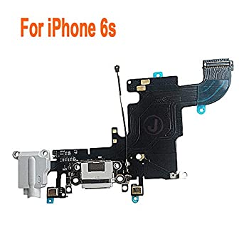 Johncase OEM Charging Port Dock Connector Flex Cable w/Microphone + Headphone Audio Jack Port Ribbon Replacement Part Compatible for iPhone 6s All Carriers  Light Gray