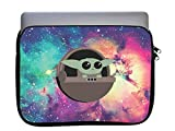 Cute Green Baby Alien Galaxy Wide 11x14 inch Neoprene Zippered Laptop Sleeve Bag by M&R for MacBook or Any Other Laptop