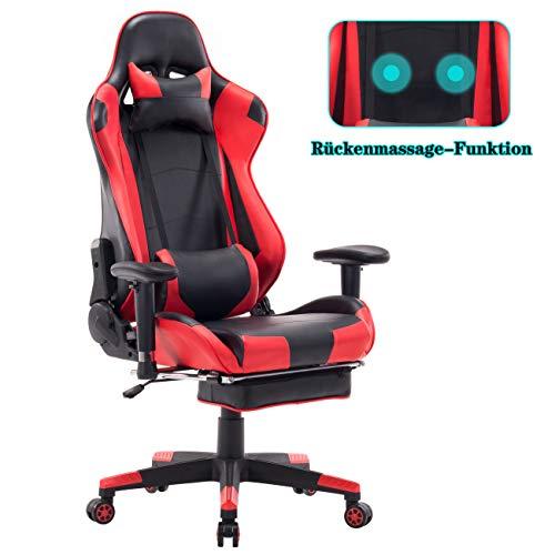 Wolmics Gaming Stuhl - Massagefunktion mit hoher Rückenlehne, versenkbare Fußstütze, verstellbare Armlehne und Lendenkissen aus Leder im Rennstil für Computertisch oder als Leder Bürostuhl Rot