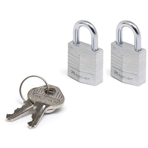 Master Lock 9120EURTCC Lot de 2 Cadenas à Clé en Aluminium Massif, Gris, 2 x 3,4 x 1,4 cm
