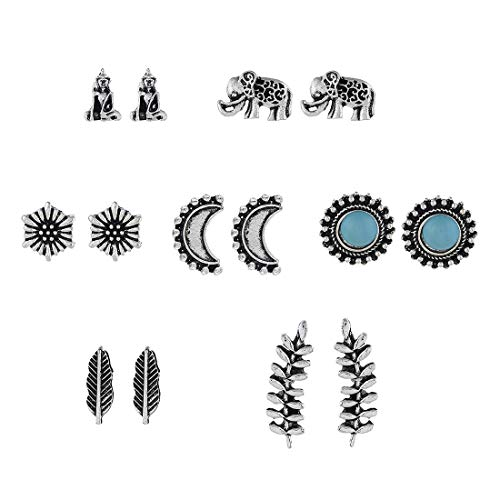 MIXIA 7 Pairs/Set Elephant Moon Buddha Stud Earrings for Women Climber Leaf Feather Cactus Charm Party Bridal Jewelry (Sunflower)