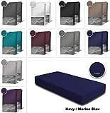 one-home 2er Pack Frottee Spannbettlaken Spannbetttuch 90x200 140x200 180x200 Baumwolle, Maße:90x200 cm - 100x200 cm, Farbe:Navy/Marine Blau