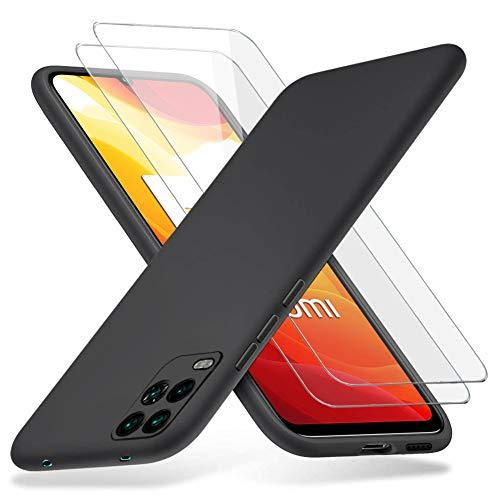 Richgle Xiaomi Mi 10 Lite Hülle und [2 Stück] Panzerglas Schutzfolie, Dünn Weich TPU Silikon Hülle Handyhülle Schutzhülle Hülle für Xiaomi Mi 10 Lite - Schwarz RG80245