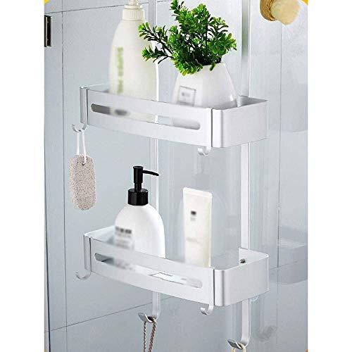 L.W.S Bathroom Rack Organizador de ba?o Colgante Peque?o con Carrito de Ducha con Material de Aluminio Duradero con Gancho a Prueba de Humedad Adecuado para ba?o y Cocina (Color:Blanco, Tama?o:Capa)
