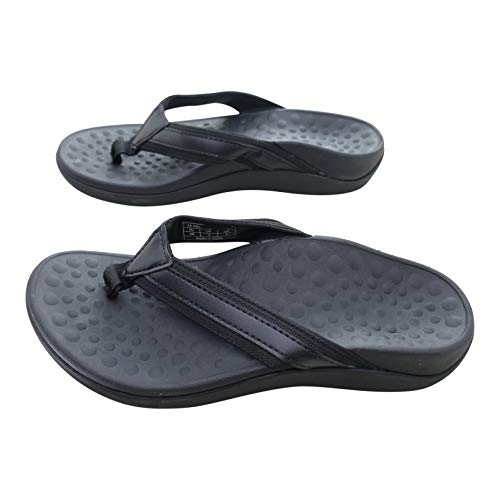 Orthopaedic Unisex Sandals. Plantar Fasciitis Relief with Great Orthotic Arch Support & Heel Cup. Lightweight, Sturdy & Comfortable. Black. (6/39)