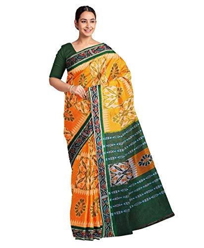 DK FASHION Women's Sambalpuri Odisha Handloom Cotton Saree_Yellow
