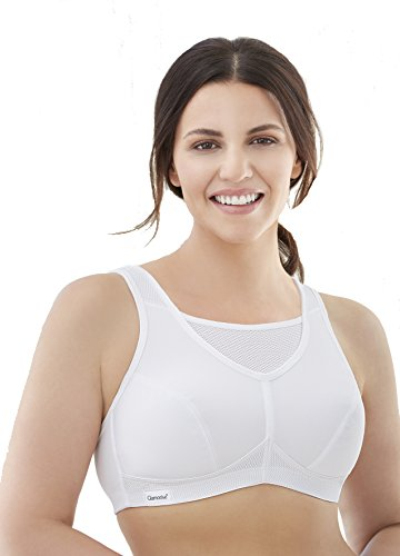 Glamorise womens Full Figure No Bounce Plus Size Camisole Wirefree Back Close Sports Bra #1066, White, 44F